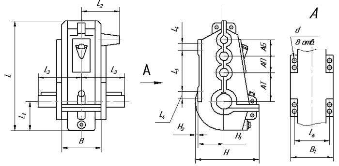Габаритные и присоединительные размеры редуктора ВКУ 500